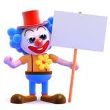 Clown 3d halten ein Plakat Lizenzfreies Stockfoto