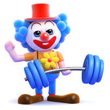 Clown 3d hebt Gewichte an lizenzfreie abbildung