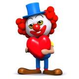 Clown 3d ist in der Liebe Lizenzfreies Stockfoto