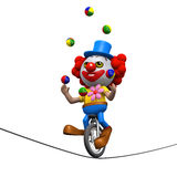 Clown 3d jongliert auf einem Unicycle auf einem highwire Stockbild