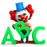 Clown 3d lernt sein Alphabet Stockbild