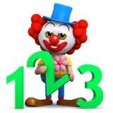 Clown 3d lernt zu zählen Lizenzfreies Stockfoto