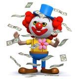 Clown 3d schlägt den Jackpot Lizenzfreie Stockfotos