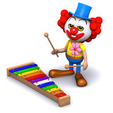 Clown 3d spielt ein Xylophon Lizenzfreie Stockbilder