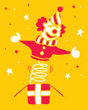 Clown de bande dessinée sortant d'une boîte Illustration Libre de Droits