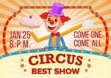 Clown de cirque Banner Blank Vector Exposition étonnante de déplacement de cirque Annonce de représentations de festival de carna Photo libre de droits