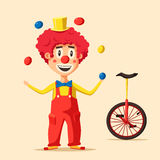 Clown de cirque heureux Illustration de vecteur de dessin animé Photographie stock