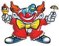 Clown de dessin animé avec le parapluie Images stock