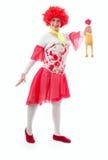 Clown de femme avec les cheveux rouges Photographie stock