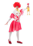 Clown de femme avec les cheveux rouges Photographie stock libre de droits