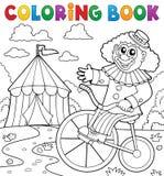 Clown de livre de coloriage près du thème 3 de cirque Image stock