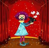 Clown de Magican avec des oiseaux illustration stock