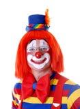 Clown de sourire avec des glaces Image stock