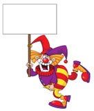 Clown, der ein unbelegtes Zeichen anhält Stockbild