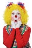 Clown, der Erstaunen ausdrückt Stockbilder