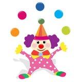 Clown, der mit Kugeln jongliert lizenzfreie abbildung
