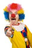 Clown, der sich Daumen zeigt Lizenzfreie Stockfotos