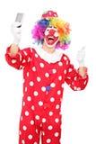 Clown die selfie met zijn omhoog duim nemen Royalty-vrije Stock Fotografie