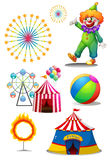 A clown with the different things in a carnival. Illustration of a clown with the different things in a carnival on a white background Royalty Free Stock Photos