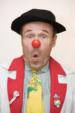 Clown doctor. Clown-doctor : clown with red nose with surprised expression in his face Royalty Free Stock Images