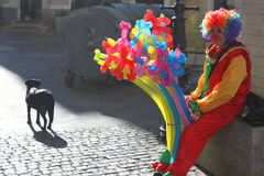 Clown and dog. Clown with colorful balloons and dog in the old center of Bucharest, Romania Stock Photo