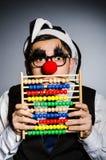 Clown drôle avec l'abaque Image stock