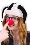 Clown drôle de femme d'isolement Photos stock