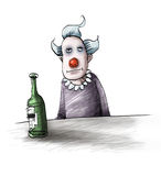 Clown. Drinking a bottle of whisky Stock Photography