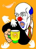 A clown drinks from a cup. This picture`s style is cartoon Royalty Free Stock Photos