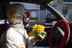Clown driving his car at Milan Clown Festival 2014 Royalty Free Stock Photo