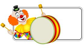 Clown the drummer royalty free illustration