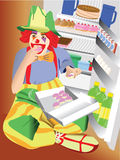 Clown eating cupcake Royalty Free Stock Image
