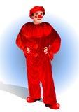 Clown in een rood kostuum Royalty-vrije Stock Foto's