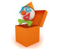 Clown in einem Kasten Stockbilder