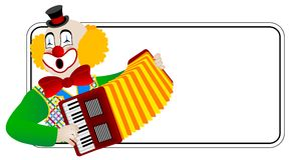 Clown el acordeonista Imagen de archivo libre de regalías