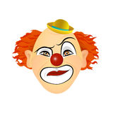Clown emotions - contempt, disgust, cynicism, disdain. Vector illustration of flat design. Royalty Free Stock Photo