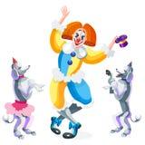 Clown en circushonden op witte achtergrond Royalty-vrije Stock Afbeelding