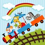 Clown en dieren die trein reizen Stock Fotografie