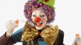 Clown en zeepbels stock videobeelden