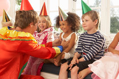 Clown entertaining children Stock Photography