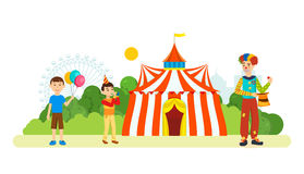 Clown entertains children in front of building of the circus. Clown entertains children in front of the building of the circus, an amusement park and recreation royalty free illustration
