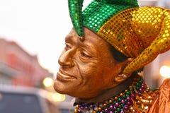Clown för Mardi grasgyckelmakare i New Orleans Arkivfoto