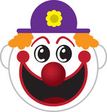 Clown Face. Large isolated cartoon clown face Stock Photography