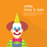 Clown Face First April Day, Fool Holiday Concept With Copy Space. Flat Vector Illustration Royalty Free Stock Images