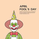 Clown Face First April Day, Fool Holiday Concept With Copy Space. Thin Line Vector Illustration Stock Image