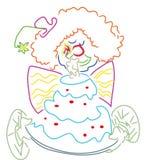 Clown with birthday cake vector illustration