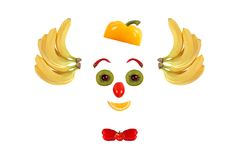 Clown face made of fruits and vegetables. Royalty Free Stock Photo