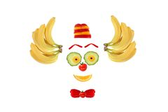 Clown face made of fruits and vegetables Stock Image