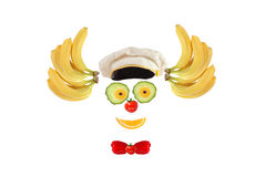 Clown face made of fruits and vegetables Stock Photos