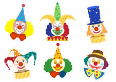 Clown face set,Vector illustrations Stock Images